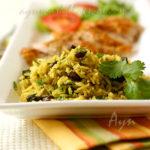 Жёлтый рис и куриная грудка по-ямайски